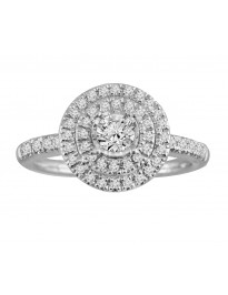 1/2ct Round Diamond 14k White Gold Double Halo Engagement Ring