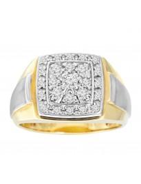 10k Two Tone Gold 1/2ct Round Brilliant Diamond Cluster Men Ring Size 10