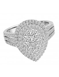 1.15ct Round Diamond 14k White Gold Double Halo Cluster Pear Shape Ring