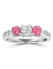 1.10ct Round Diamond & Pink Sapphire 14k White Gold 3 Stone Ring