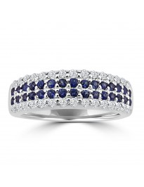 0.80ct 4 Row Diamond & Blue Sapphire 14k White Gold Anniversary Band Ring