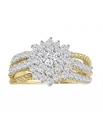 1/2ct Diamond 10k TT Gold 3 Row Band Miracle Plate Flower Ring