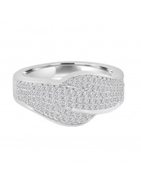 0.63 CTW Natural Pave Diamond Crossover Anniversary Band Ring 14k White Gold