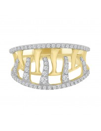 0.50 CTW  Pave Interlocking Natural Diamond Band Right Hand Ring 14k Yellow Gold