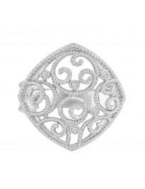 Bezel Set Natural Diamond Square Fashion Band Ring 14k White Gold