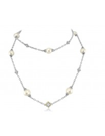 Judith Ripka Cultured Pearl White Topaz TT Sterling Silver Station Necklace 34""