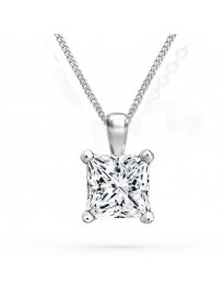 1/3ct Genuine Princess Cut Diamond 14K White Gold Solitaire Pendant Necklace Certified