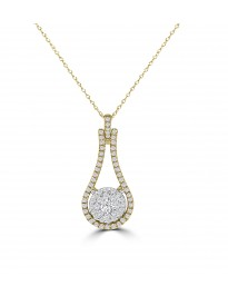 1.00ct Diamond 10k Yellow Gold Cluster Teardrop Pendant with Chain Necklace
