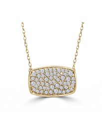 1/2ct Pave Diamond 10K Yellow Gold Rectangle Cluster Pendant Necklace