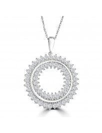 1/2ct 2 Row Miracle Set Diamond 10k White Gold Open Circle Pendant Necklace