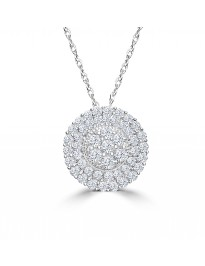 1/2ct Diamond 10K White Gold Double Halo Cluster Flower Pendant Necklace