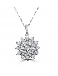1/2ct Miracle Plate Diamond 10k White Gold Flower Pendant Necklace