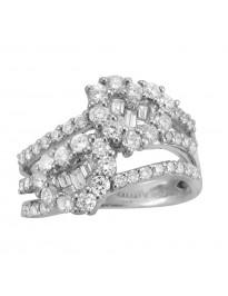 1.42ct Round & Baugette Diamond 18k White Gold 2 Hearts Split Shank Ring