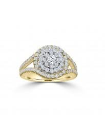 1.00ct Round Diamond 10k Yellow Gold Split Shank Cluster Ring
