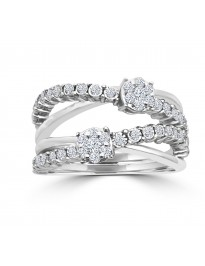 1/2ct Round Diamond 10k White Gold Crossover Cluster Wave Ring