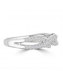 1/4ct Round Diamond 10k White Gold Infinity Twist Band Anniversary Ring