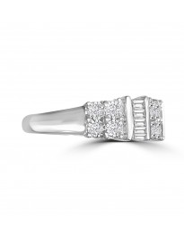 1/2ct Round & Baguette Diamond 10k Gold Miracle Plate Band Anniversary Ring