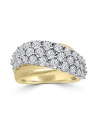 3/4ct 3 Row Diamond 10k TT Gold Miracle Plate Set Wave Band Ring