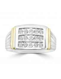 0.15ct Diamond 10k TT Gold 3 Row Men's Wedding Anniversary Band Ring