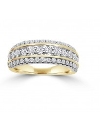 1.00ct 3 Row Diamond 14k Two Tone Gold Wedding Anniversary Band Ring
