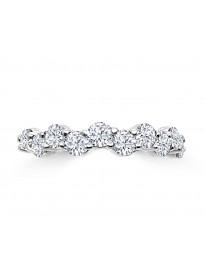1.00ct Diamond 14k White Gold Wave Wedding Anniversary Ring Band