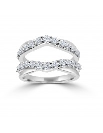 1.00ct Round Diamond 14k White Gold Gaurd Wrap Insert  Bridal Ring