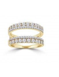 1.00ct 2 Row Diamond 14k Yellow Gold Insert Bridal Wedding Band Ring
