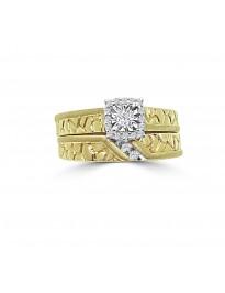 1/5ct Diamond 14k Two Tone Gold Nugget Shank Wedding Bridal Set Rings