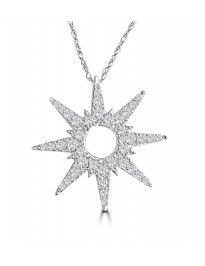 1/2ct Round Diamond 10k White Gold 8 Pointed Star Pendant Necklace