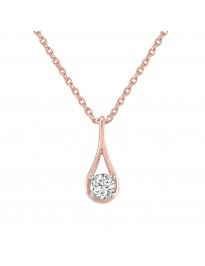 1/5ct Round Natural Diamond 10k Rose Gold Solitaire Drop Pendant Necklace
