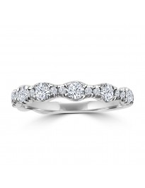 3/4ct Round Diamond 14k White Gold Wedding Anniversary Ring Band