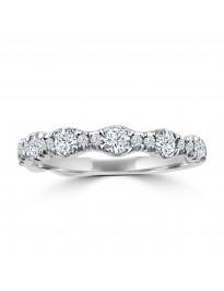 3/4ct Round Diamond 14k White Gold Wedding Anniversary Ring Band