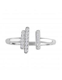 1/10ct Pave Round Diamond 10k White Gold Split Bar Ring