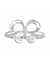 Round Diamond 10k White/Yellow/Rose Gold Fashion Butterfly Ring