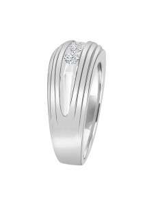 1/2ct Round Diamond  10K White Gold Band Men's Wedding Anniversary Channel Set Ring