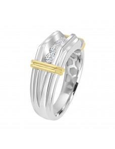 1/2ct Round Diamond  14K Two Tone  Gold Band Men's Wedding Anniversary Ring 5 Stone