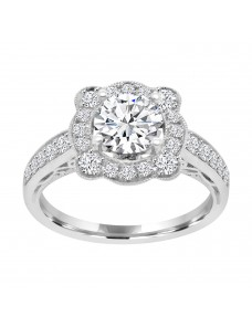1/2ct Lab Grown Diamond 14k Gold Semi Mount Floral Milgrain Engagement Ring