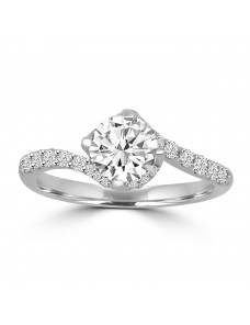 Lab Grown Diamond Solitaire Semi Mount Engagement Ring 0.33 CTW 14k White Gold