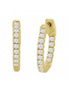 1/4ct Round Diamond 14k White/Yellow Gold Mini Huggie Earrings with Safety Lock