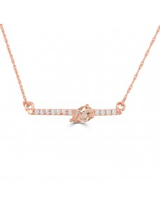 1/2ct Pear Morganite & Diamond 14k Rose Gold Bar Pendant Necklace