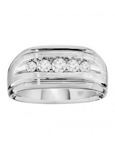 10.5mm Men's Wedding Anniversary Channel Set 1/2ct Diamond 14k Gold Band Ring