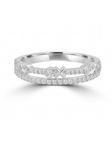 "1/4ct 2 Row Diamond 14k White Gold ""XO"" Stackable Band Ring"