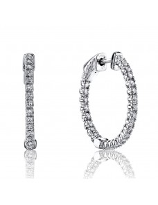 1.00 Cttw Round Diamond 14k White Gold Prong-Set Hoop Earrings Patented Lock